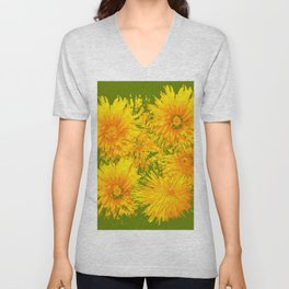 ABSTRACTED MOSS GREEN  FIRST SPRING YELLOW DANDELIONS Unisex V-Neck