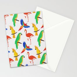 Tropical Birds Pink Background Stationery Cards