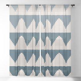 Geometric Pyramid Pattern - Blue Gradient Sheer Curtain