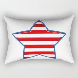 Patriotic Star Blue Border Red and White Stripes Rectangular Pillow