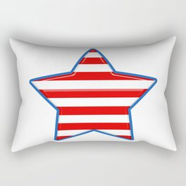 Patriotic Star Blue Border Red and White Stripes Rectangular Pillow