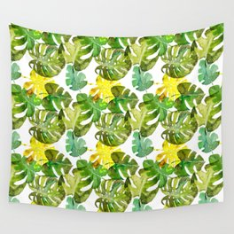 Watercolor monstera leaves illustration Wall Tapestry
