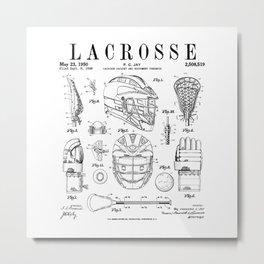 Lacrosse Player Equipment Vintage Patent Drawing Print Metal Print