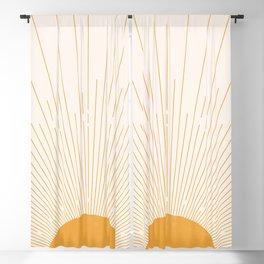 Solar Rays Boho Decor, Mid Century Modern Minimalist Sun Decor, Mustard Sunburst Blackout Curtain