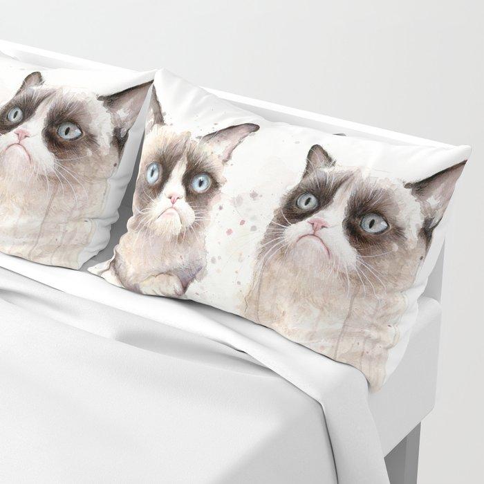 Grumpy Watercolor Cats Pillow Sham