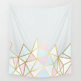 Gold & Pastel Geometric Pattern Wall Tapestry