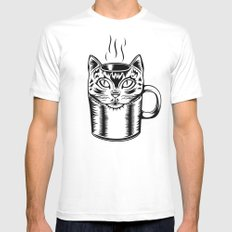 Coffee Cat Mens Fitted Tee White MEDIUM