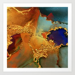 Abstract Gold and Blue Hues Glitter Paint Texture Art Print