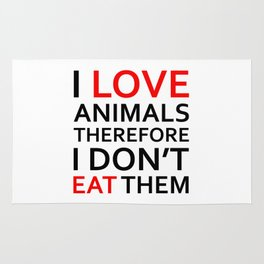 I Love Animals, Therefore I Don't Eat Them Black Rug