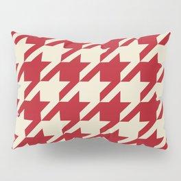 pied-de-poule rouge et crème Pillow Sham