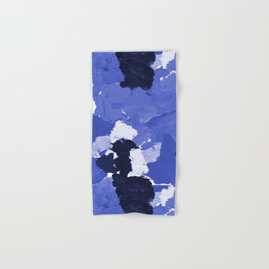 Kenni - abstract paint palette blue white navy bright modern gender neutral painting brushstrokes  Hand & Bath Towel