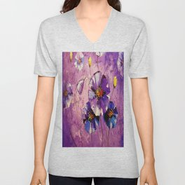 Flowers in the moonlight Unisex V-Neck