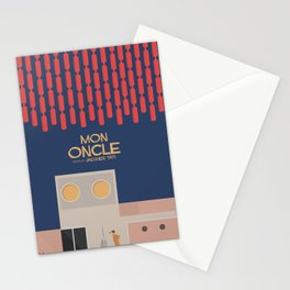 Mon Oncle - Jacques Tati Movie Poster, classic French movie, old film, Cinéma français, fun, humor Stationery Cards