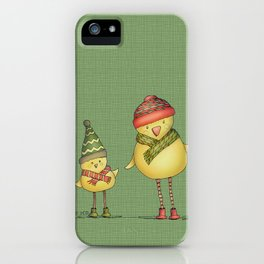 Two Chicks - green iPhone Case