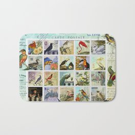 Birds of a Feather Postal Collage Bath Mat