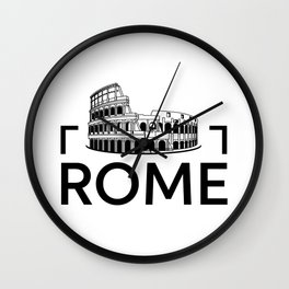 Rome. Black and white sketch. Wall Clock