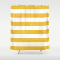 striped Shower Curtains featuring Striped by TT Smith