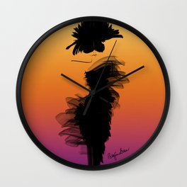 Fashion model in her little black dress in the sunset Wall Clock