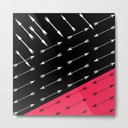 Red black , white pattern Arrow . Metal Print