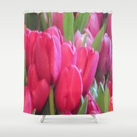 tulips Shower Curtains featuring Tulips by lillianhibiscus