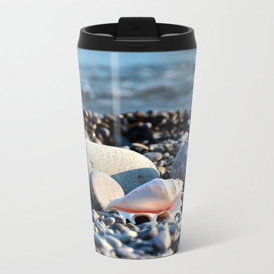 Stones and shell. Sea Composition Metal Travel Mug