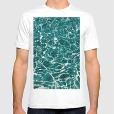 SEA - blue , white ocean , waves , clear , clarity MEDIUM White Mens Fitted Tee