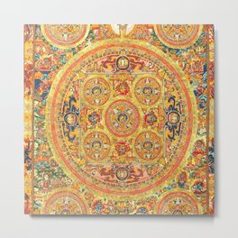 Buddhist Mandala 44 Five Circles Metal Print