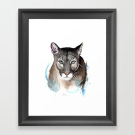 Puma Watercolour Painting Framed Art Print