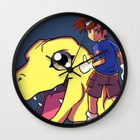 digimon Wall Clocks featuring Digimon by Viga Victoria Gadson