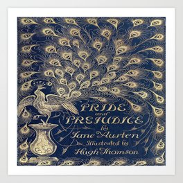 Pride and Prejudice, Peacock; Vintage Book Cover Art Print