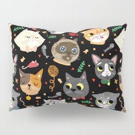 Neighborhood Cats in Black Pillow Sham