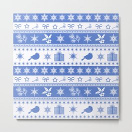 Christmas blue and white pattern with decorative bands. Metal Print