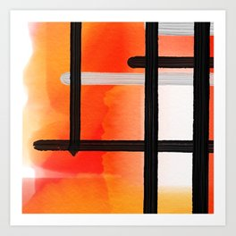 Orange Yellow Watercolor Abstract Pattern Art Print