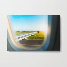 Airplane Wing Through Window During Take Off Metal Print