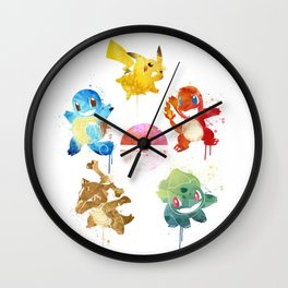 Watercolor pocket monsters Wall Clock