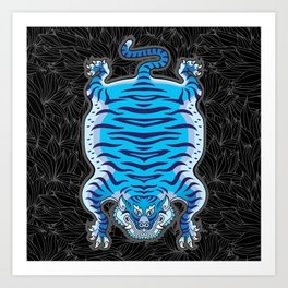TIBETAN TIGER - BLUE (black) Art Print