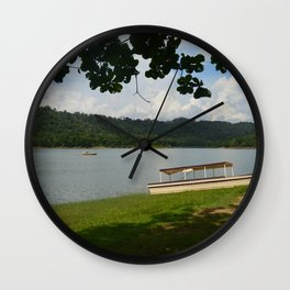 Boat on side lake Wall Clock