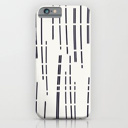 Abstract broken lines - black on off white iPhone Case