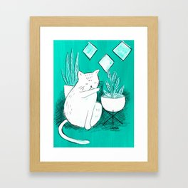 Turquoise Cat Framed Art Print