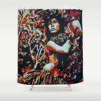 ohana Shower Curtains featuring Pele by AUSKMe2Paint