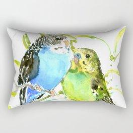 Budgies, love bird green blue decor Rectangular Pillow