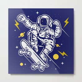 Surfing the Stars Astronaut Skater Cool Space Dude Metal Print