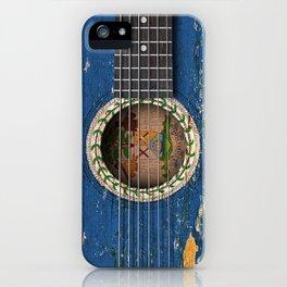 Old Vintage Acoustic Guitar with Belize Flag iPhone Case
