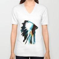 headdress V-neck T-shirts featuring Headdress by James Peart