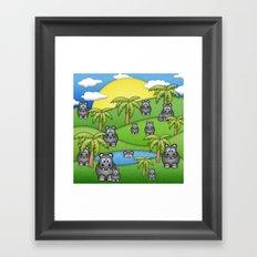 Hippos. Framed Art Print