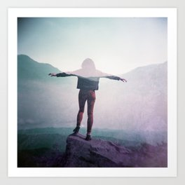 Soaring over the Smoky Mountains - Film double exposure photograph Art Print
