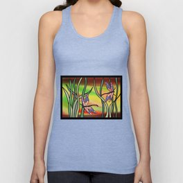 dragonflies in the grass on a colored background Unisex Tank Top