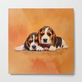 Cute Beagle puppies Metal Print