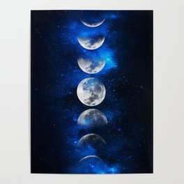 Phases of the Moon Blue Poster