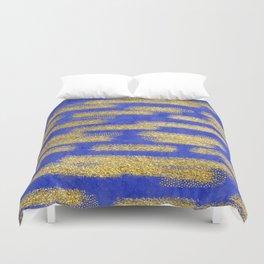 Blue Gold Brush Pattern 02 Duvet Cover
